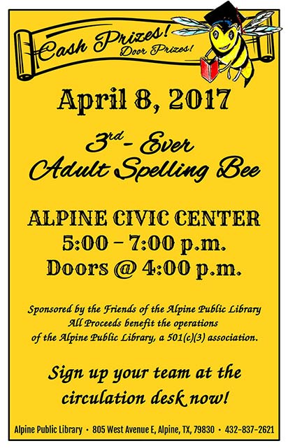 3rd Ever Alpine Public Library Adult Spelling Bee calling for participants for April 8 event